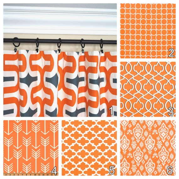 Orange Curtains.Window Curtains.Kitchen Curtains.Apache Orange