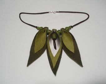 Olive Green Leaf Necklace