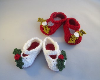Holly Berry Handmade Crocheted Baby Mary Jane Shoes