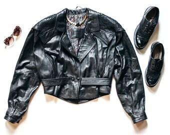80s Black Leather Jacket | Vintage Jacket | Cropped Leather Jacket | Kircilar Motorcycle Jacket - Size L Large