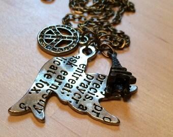Peace Eiffel Tower Charm Necklace, bird necklace, peace necklace, antique bronzed necklace, Indie necklace, boho necklace