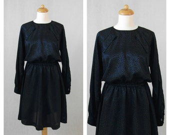 80s vintage dress. Dark blue dress. Party dress. Size M / L.