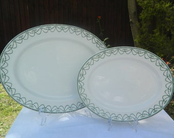 Ellesmere' no.67370 Green and White Vintage Platter Floral and Swigs with Dotted Edge x 2