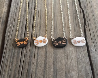 porcelain kitty cat necklace