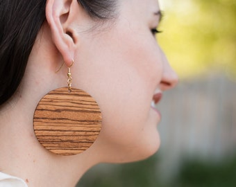 Large Zebrawood Circle Earrings