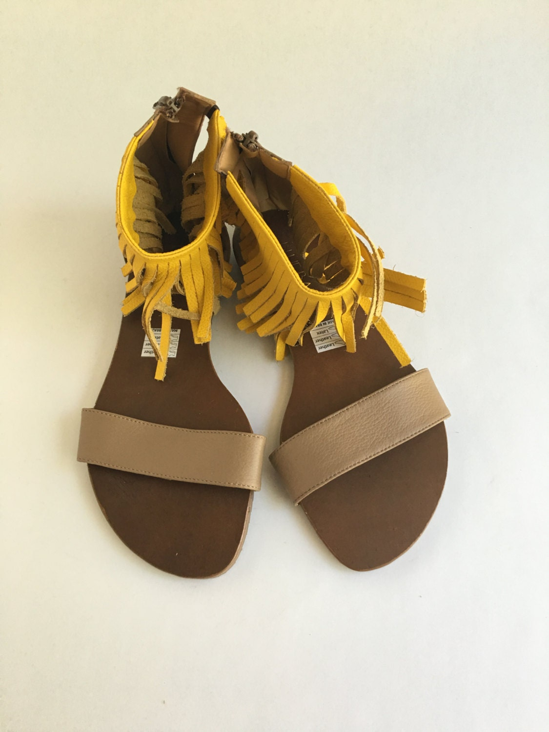 Womens sandals that zip up the back - Brazilian Leather Fringe Sandals With Zip Up Back For Women In Yellow And Brown