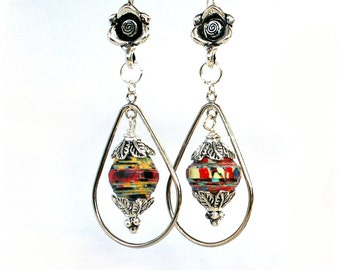 Flower earrings, Bohemian tribal earrings, Red gypsy earrings, Festival earrings, Hippie earrings, Colorful ethnic earrings