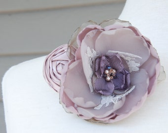 Mauve and taupe flower hair clip;bridal hair clip;vintage inspired hair clip