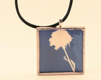 Pressed Flower Cyanotype Pendant