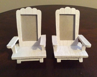 A Pair of Two Spectacular Adirondack Miniature Beach Deck Chairs Card/Photo Holders, Fashion Craft.