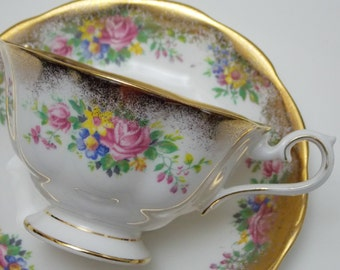 Royal Albert Mixed Flowers Floral Bouquet Heavy Gold Trim Vintage Fine Bone China Tea Cup and Saucer Made in England