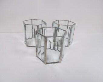 Set of Three Beveled Glass Candle Holders
