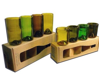 8 Drinking Glass Set, Made from Recycled Wine Bottles, Four short and four tall cups, housewarming gift, wine lover present, stock the bar