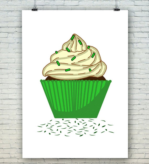 Instant download green cupcake wall art nursery art for Cupcake wall art
