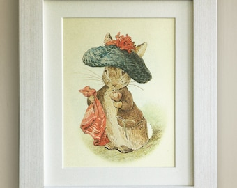 """FRAMED Beatrix Potter Print, New Baby/Birth, Nursery Picture Gift, 3 Frame Options, Lovely Birth or Christening Gift, 10""""x8"""", Peter Rabbit"""