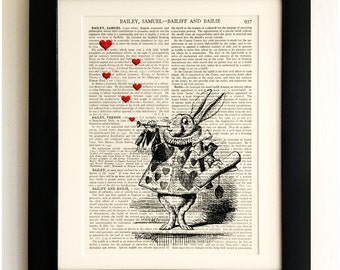 ART PRINT on old antique book page - Alice in Wonderland, White Rabbit, Upcycled Wall Art Print Encyclopaedia Dictionary Page, Gift