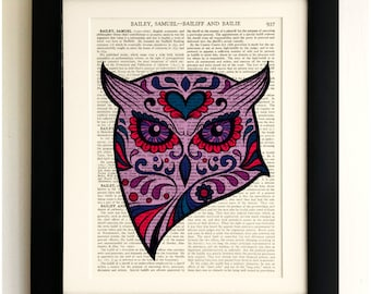 ART PRINT on old antique book page - Sugar Skull Purple Owl, Vintage Upcycled Wall Art Print, Encyclopaedia Dictionary Page, Fab Gift!