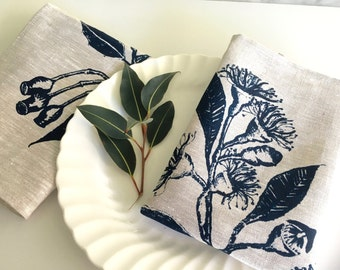 Linen napkin, Screen printed linen napkins, Eucalypt print linen napkins, set of 4, Indigo and natural