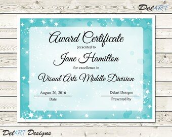Participation award etsy light blue and purple certificate templates instant download editable pdf file 85 x yadclub Gallery