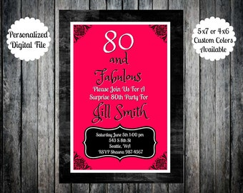 Digital Personalized 80 & Fabulous 80th Birthday Party Invitation