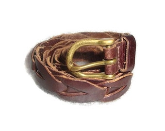 vintage WOVEN BROWN SKINNY leather  brass hardware indie boho Belt women size Medium