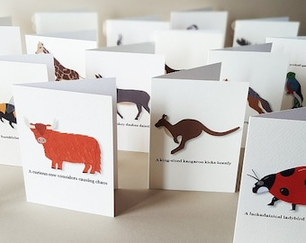 Stationery Set, Animal Stationery, Cute Stationery, Note Card Set, Animal Lover Gift, 1st Anniversary Gift, Greeting Card Set, Cute Animals