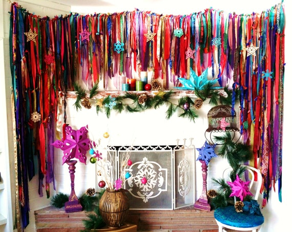 Boho Curtains Sale Wall Decor Mantle Bohemian Chic By Hippiewild