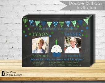 Double Birthday Party Invitation - Blue and Green Party Invitation - Printable 5x7 with Photo