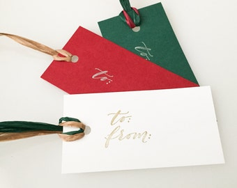 Modern calligraphy stamped to and from gift tags - Set of 10