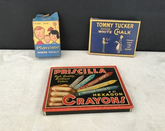Crayon Box - Vintage Priscilla Crayons - Chalk Box - Tommy Tucker Chalk - Prop - Chalk Box - Binney & Smith - Playtime  - Display
