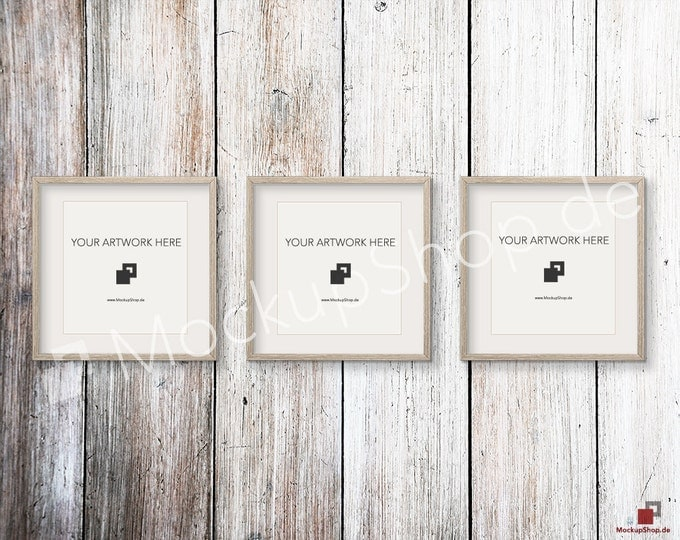 Set of 3 SQUARE Weathered brown MOCKUP FRAME on old brown wooden wall, Frame Mockup, Amazing browm photo frame mockup, Digital Download