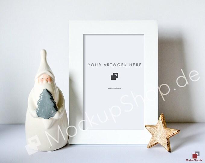 CHRISTMAS MOCKUP FRAME white / 8x12 / Santa Claus and wooden star / Merry Christmas Mockup / Merry Xmas Frame Mockup / Santa Claus Mockup