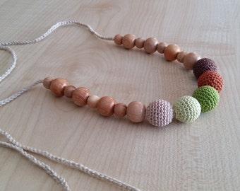 Breastfeeding Nursing.Crochet necklace.Juniper.Nursing necklace.Teething necklace.Natural.Organic cotton.Nursing necklace for mom.Green.