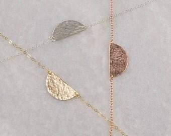 Half Moon Necklace/Half Circle Necklace/Hammered half moon Necklace/Setting sun necklace