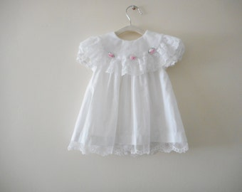 Sweet White Baby Dress - Size 12m