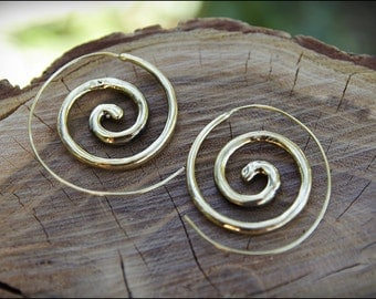 Brass Spiral hoop earrings. Tribal spiral earrings. Spiral earrings ethnic style.
