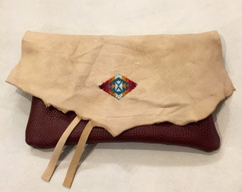 Leather Clutch, Leather Pendleton Clutch, Leather Bag