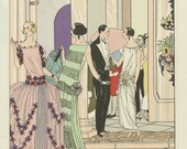 Dinner at the Ritz - reproduction of fashion plate from fashion magazine Art-Goute-Beaute