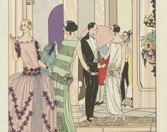 Dinner at the Ritz - reproduction of plate from fashion magazine Art-Goute-Beaute