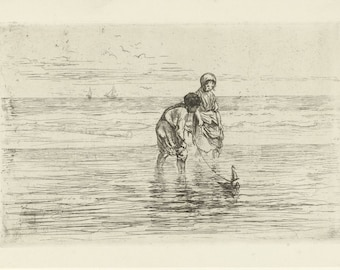 Children playing in the sea - copy of etching by Josef Israëls