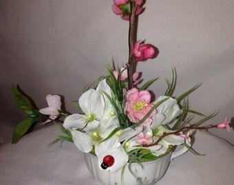 Tea Cup Flower Arrangement, Centerpiece -Spring in a Cup