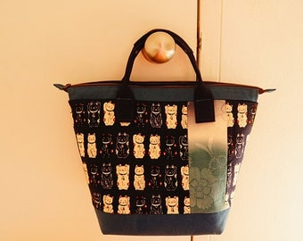 Handmade two style mix top handle framed linen bag