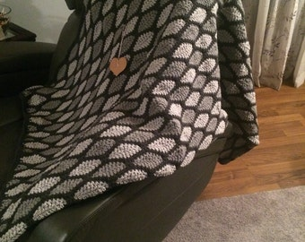 Grey and Black Oversized Afghan