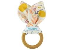 Natural Organic Wooden Teething Ring Toy Natural Maple Teething Ring Wild Flower Teether Toy Bamboo Organic Terry Girl Baby Teething Ring