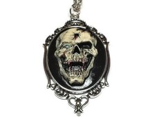 Vampire Skull with Bullet Hole Cameo Horror Necklace, Skull Cameo Gothic Jewelry