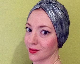 Silver Glamour Turban, hair scarf, head piece, hair wrap, hat