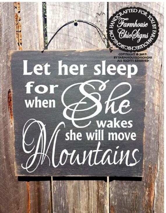 baby decor, nursery decor, Let Her Sleep Sign, Napolean Bonaparte Quote, Nursery Decor, Girls Room