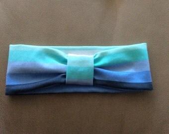 Shades of Blue, Gray, White, Aqua  Stripe Jersey knit Headband, Multi color Head Wrap Jersey Headband - Choose Size