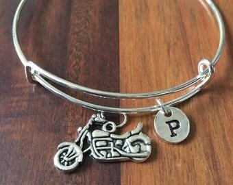 Motorcycle charm bracelet, motorcycle jewelry, biker chick bracelet, motorcycle bangle, biker jewelry, silver motorcycle bracelet