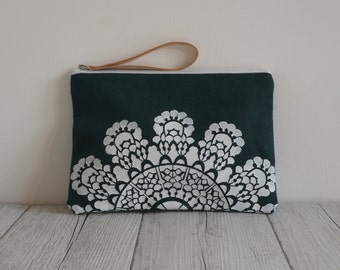 Printed green fabric handmade handbag-white lace design